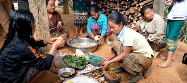 Des femmes cuisines dans un village d'altitude au nord du Laos © V. Bonneaud, Cirad