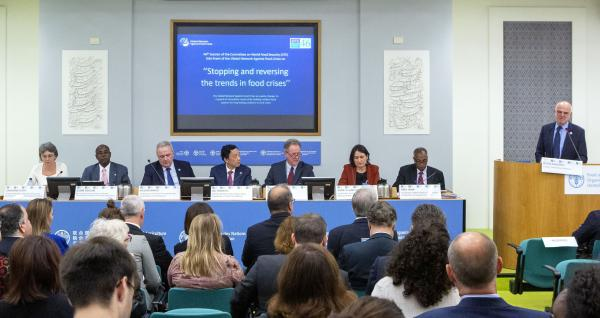 At the presentation in Rome of the report Food systems at risk: new trends and challenges, L to R: CIRAD's Sandrine Dury, CILSS Executive Secretary Djimé Adoum, EU Commissioner for International Cooperation and Development Neven Mimica, FAO DG Qu Dongyu, WFP Executive Director David Beasley, FSIN Coordinator Anne-Claire Mouilliez, Head of IFRAH Abdi Jama and David Nabarro, Professor of Global Health at Imperial College London © FAO