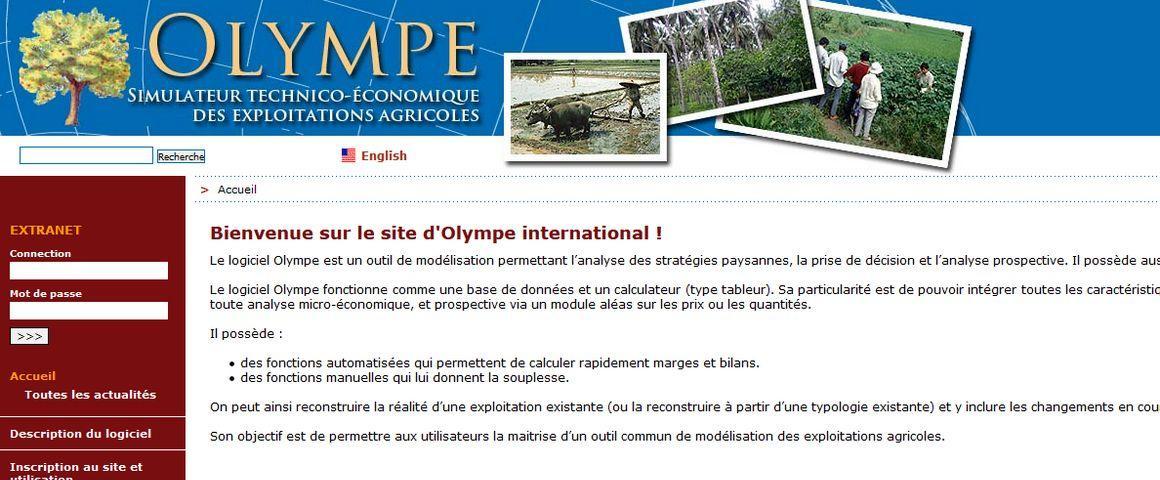 Olympe est un logiciel d'analyse technico-économique et de simulation du fonctionnement d'une ou de plusieurs exploitations agricoles (image du site web)